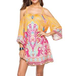 Dresses & Skirts - Tribal Print Cold Shoulder Boho Dress